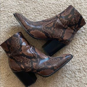 Zara Snake Print Leather Ankle Boots